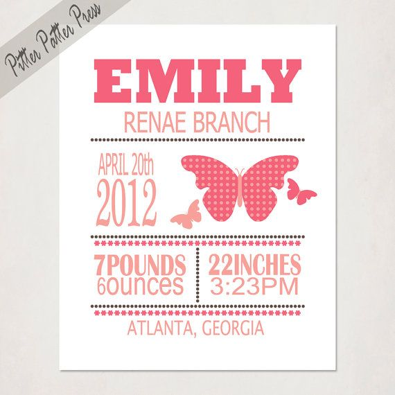 Girl's Birth Announcement // Personalized Custom Butterfly Print with Baby's name // Kid's Nursery Wall Art // Name Poster Art on Etsy, $20.00