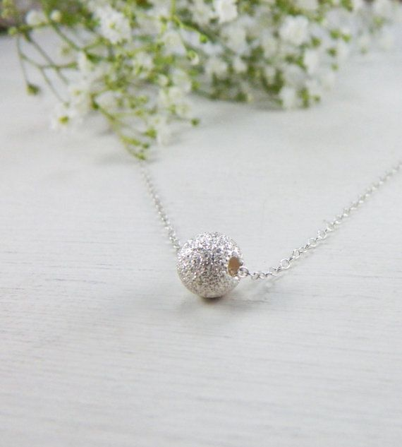 Sterling Silver Ball Necklace  small simple by BarakaCustomJewelry