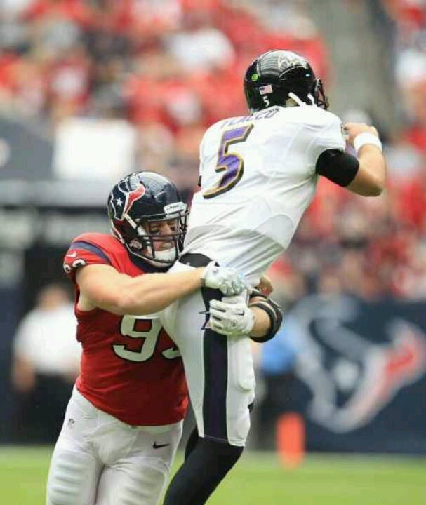 Oh to see Flacco go down by the hands of JJ Watt, makes this girl oh so happy