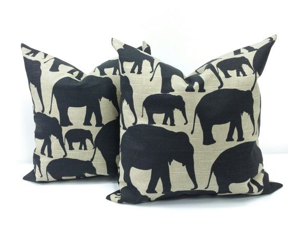 Elephant Silhouette. Black Cushion cover. by TwistedBobbinDesigns