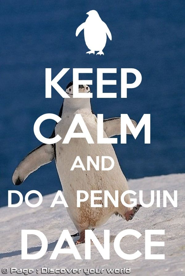 "I thought it said ""keep calm and do a penguin"" cuz I didn't see the dance part so I panicked and was like no. Now I know better."