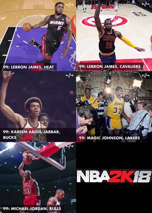The five 99 rated players in the NBA2K18 All-Time teams are:   LeBron James: Heat LeBron James: Cavaliers  Kareem-Abdul Jabbar: Bucks  Magic Johnson: Lakers  Michael Jordan: Bulls   Who else should be on this list?   - YellowLemons