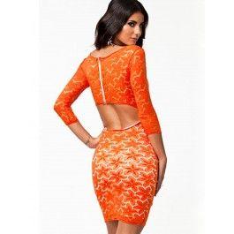 Vestidos Ajustados de Encaje Color Naranja MS885