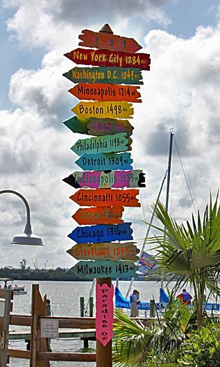 beach wooden signs directions fort myers beach florida