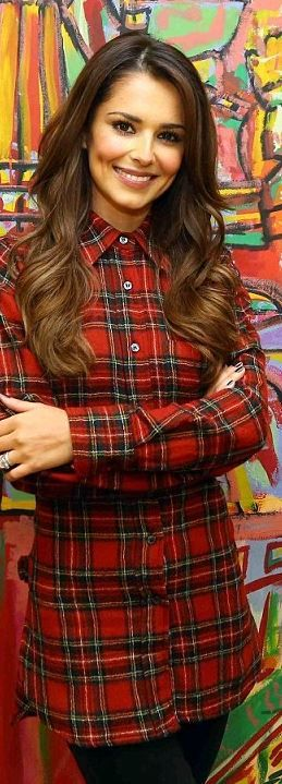 Cheryl Cole's red plaid shirt, black buckle boots, and coat fashion style id