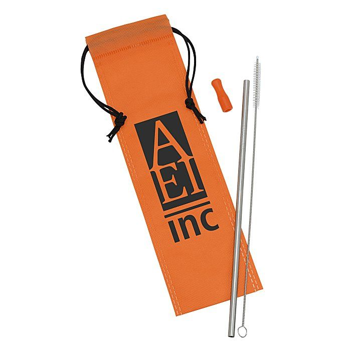 4imprint Com Stainless Steel Straw Set 150594 Stainless Steel