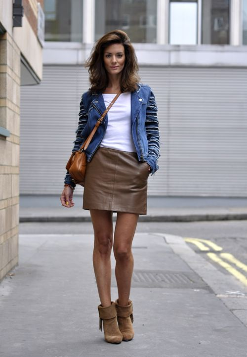 The 25  best Tan leather skirt ideas on Pinterest | Cream sweater ...