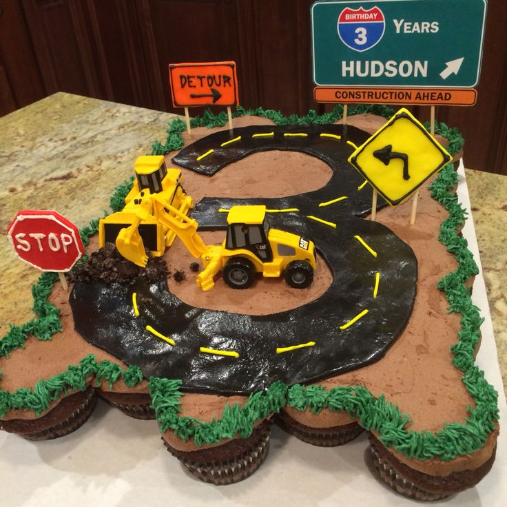 Construction themed pull-apart cupcake cake for 3 year old.