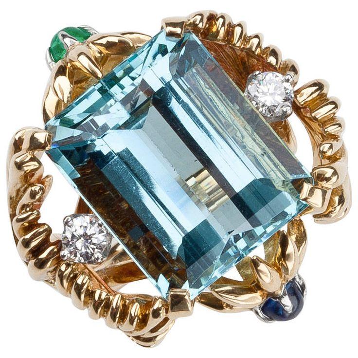 tiffany amp co jean schlumberger aquamarine ring joya