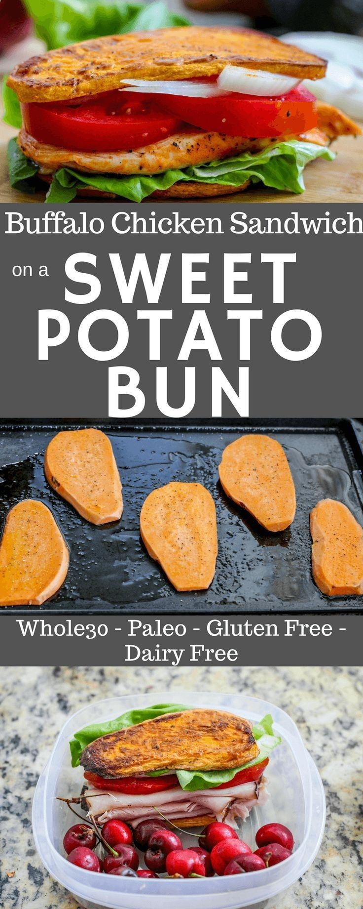 Paleo Whole30 buffalo chicken sandwich and paleo ranch on sweet potato buns! via @Allys Cooking