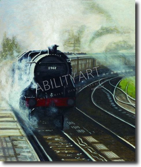 """Ian D. Parker è originario della Gran Bretagna. Ha creato l'opera """"Treno con locomotiva a vapore"""", dipinta con l'utilizzo esclusivo della bocca. La tecnica utilizzata è quella ad acrilico; il formato originale è 31x26 cm."""