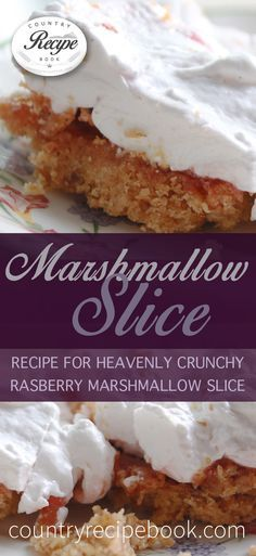 Heavenly crunchy marshmallow slice recipe. This recipe uses combines rasberry with marshmallow for an easy crowd pleasing treat. Check it out!