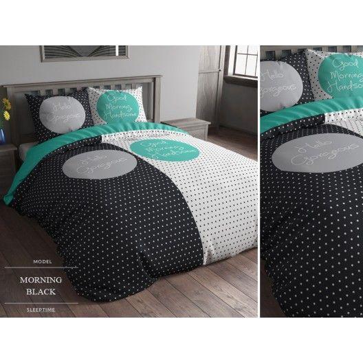 Čierno biele bodkované obliečky na posteľ