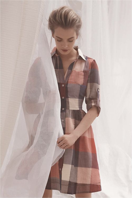 Excellent fall colors and use of large plaid print.