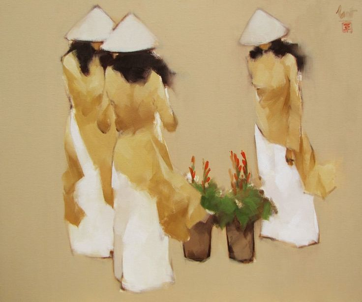 Young florists by Vietnamese Artist Nguyen Thanh Binh