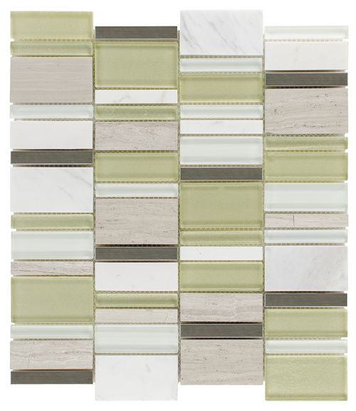 Glass Stone Mosaic Tile Modern Green Tea mesh mounted on a 12x12 for bathroom, kitchen backsplash, shower, and feature wall. Samples available!