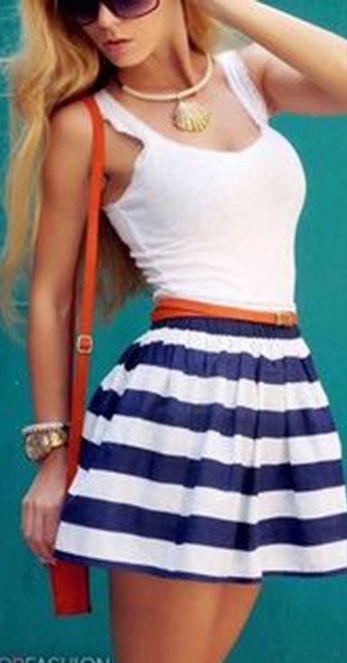 Splicing Stripe O-neck Sleeveless Short Dress