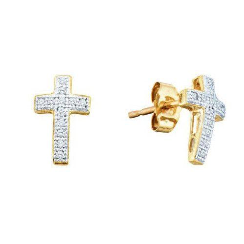 10k Yellow Gold 0.10Ct Diamond Cross Earrings