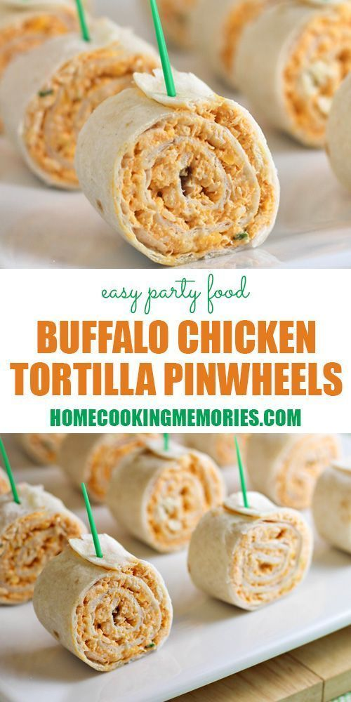 Buffalo Chicken Pinwheels -- easy party food that has all the flavors of buffalo chicken wings...without the mess. Great for all kinds of parties: baby showers, bridal showers, graduation parties, potlucks, and more!