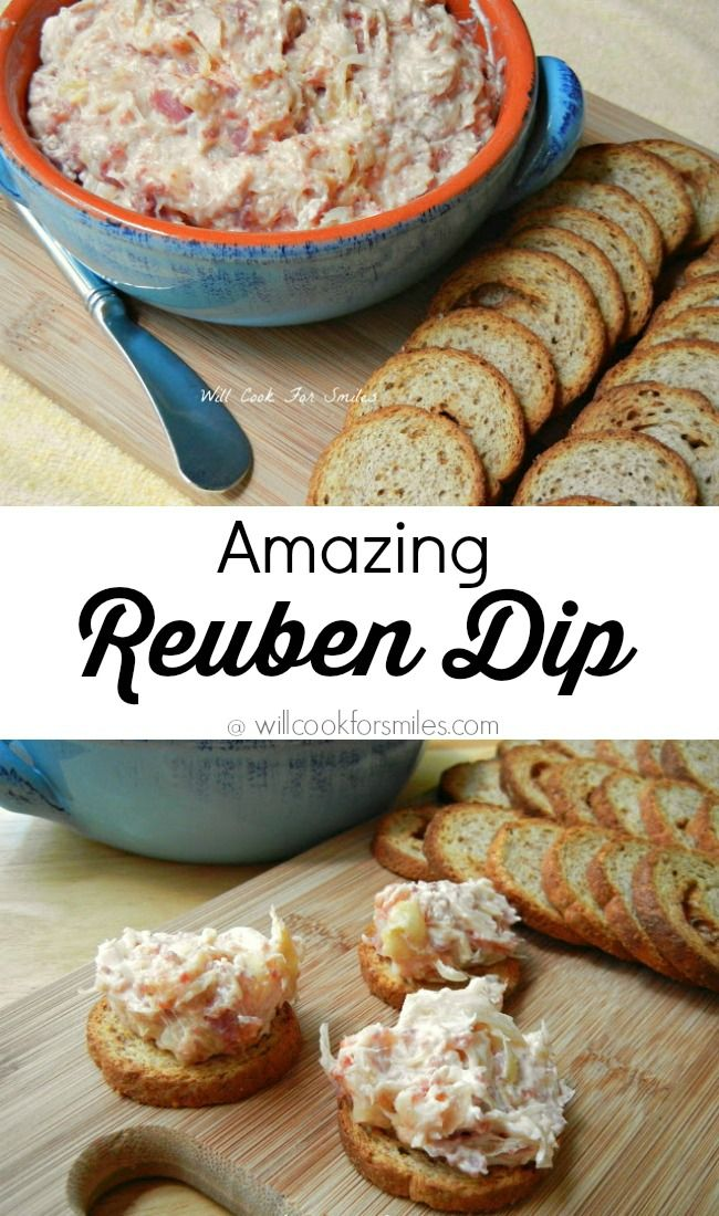Reuben Dip. This is an amazing dip made with all the great tastes of a classic Reuben Sandwich. Great appetizer recipe for game day or any party. from willcookforsmiles.com: