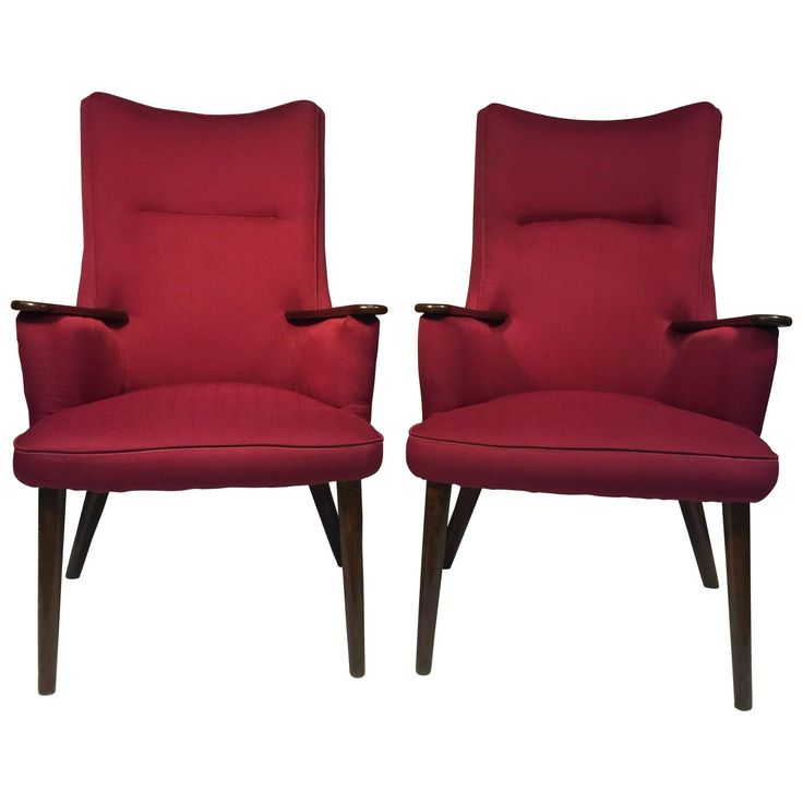 Attractive Wonderful Pair Of Red Armchairs In The Manner Of Hans Wegner. Red ArmchairHans  ...