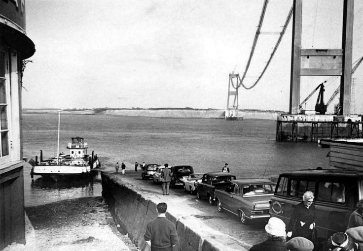https://flic.kr/p/BNA5PD | 1964 Cars queue to use the Severn ferry | The first Severn Bridge was opened in 1966 to replace the ferry.
