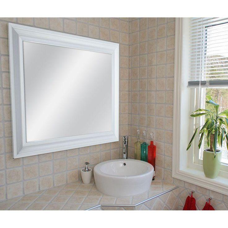 Masterpiece Decor 22.5 in. x 28.5 in. White Framed Mirror