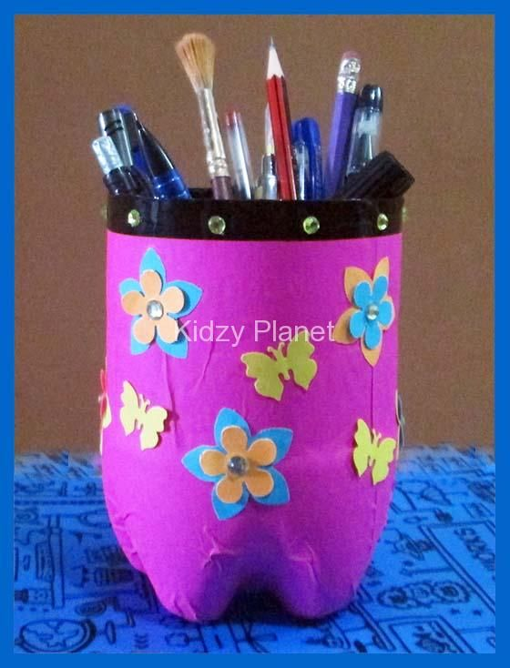 Creative & Colorful & Simple Craft for kids to enjoy during their vacations – Pencil Stand made with waste material. It's a DIY fun and useful activity . Material Required: One 2 litter empty water or soft drink bottle Glue Knife Origami sheets Decorative material Glitter glue Scissors Step by Step pictures & instructions are...Read More »