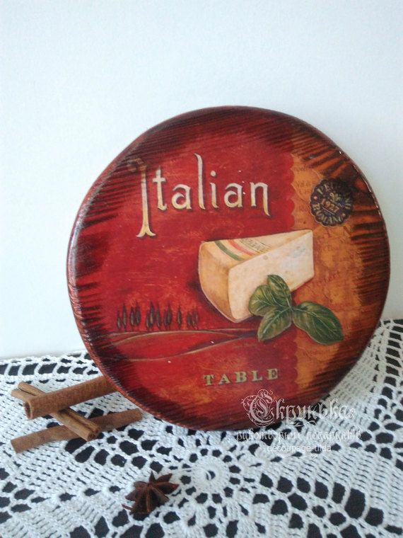 Cutting board decor, kitchen decoration,  italian food, vintage plaque,  kitchen sign,decoupage,macaroni,gift idea