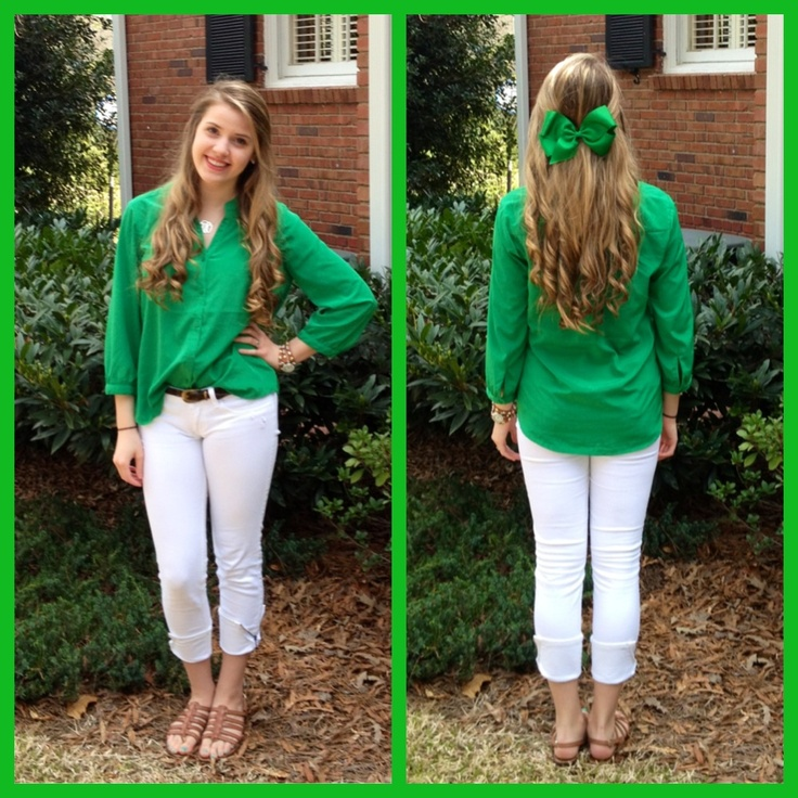 St. Patrick's Day Outfit: •green blouse from Old Navy •white zipper side skinnies from Hollister • leather tan strappies by Sam Eldelman •giant green hair bow I found in my house(: