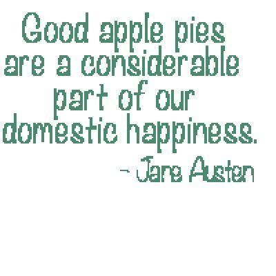 Embroidery: Apple Pie Jane Austen Quote