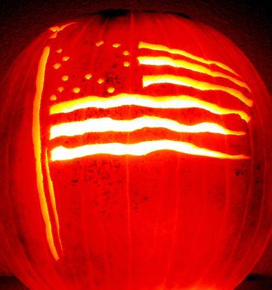 American flag patriotic pumpkin.
