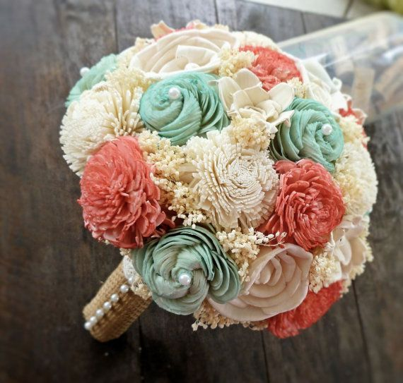 Natural Wedding Bouquet- Large Coral Mint Ivory Bridal Bridesmaid Bouquet, Rustic Wedding, Alternative Bouquet, Keepsake Bouquet on Etsy, $108.00