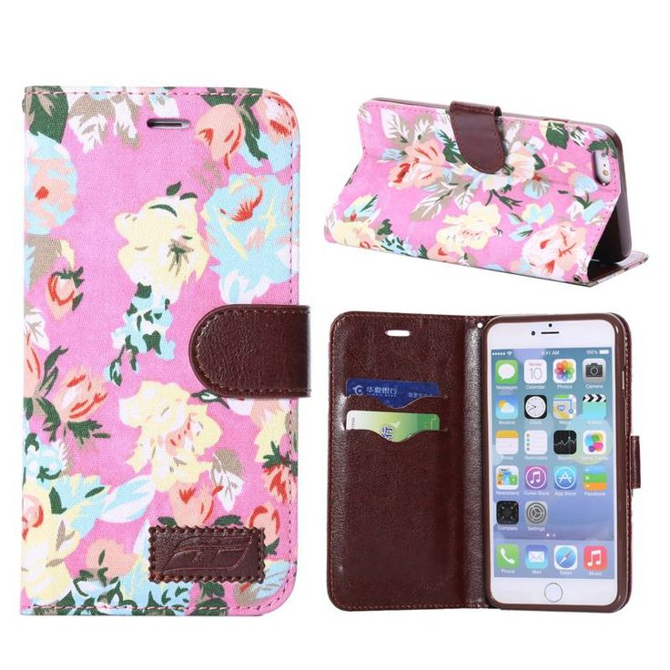 Bloemendesign roze bookcase hoesje voor iPhone 6 Plus