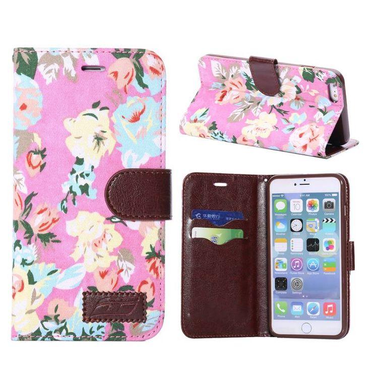 Bloemendesign roze bookcase hoesje voor iPhone 6 Plus
