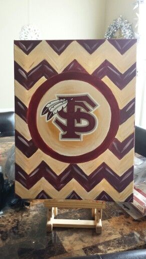 FSU Chevron Painting. Custom Painting by Mary W using FSU decal can be made to order for 25.00.Most ant team can be done. Message me if interested.