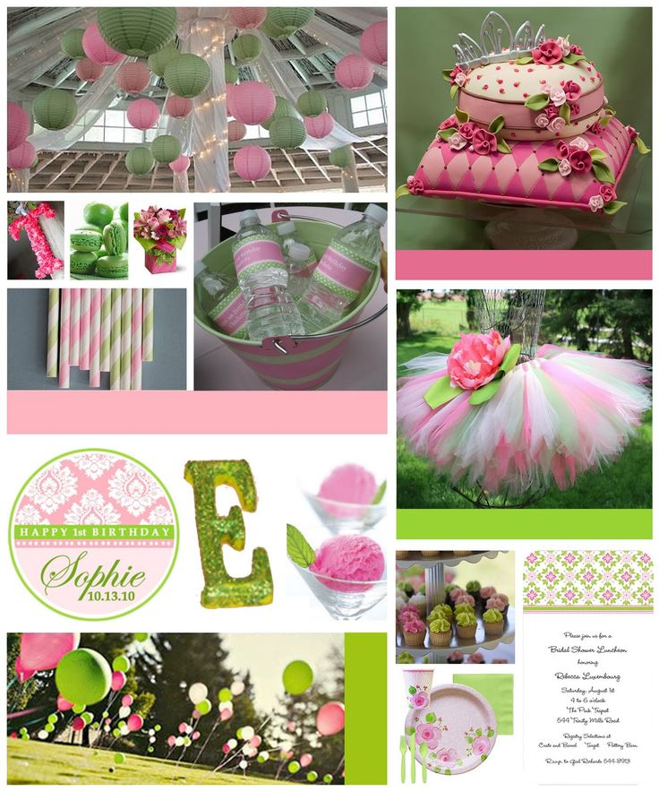 Super sweet Pink and Green party - great for Princess - Inspiration Board with credits