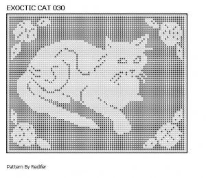 Free Filet Crochet Cat Patterns | Original Filet Crochet Pattern Exoctic Cat Theme 030