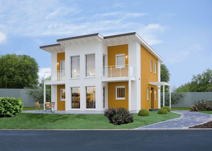 ausgefallene Dachgestaltung * Flachdach * Ideen zum Dachbau * gelbe Hausversade * Bien-Zenker