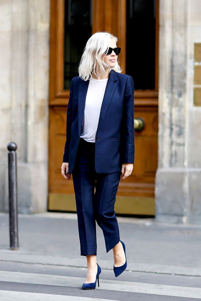 A head-to-toe navy blazer will stop the show when paired with lace up pointy boots.