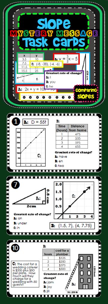 Students calculate and compare slope (rate of change) shown in tables, graphs, equations, ordered pairs, word problems and right triangles to find the greatest slope. Once the greatest slope is determined on each card, another piece of the mystery message is revealed!