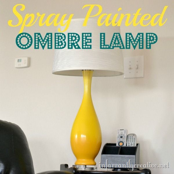 Create an ombre effect with spray paint on a lamp @Infarrantly: Diy Rooms, Diy Home Decor, Crafts Diy Ideas, Color, Diy Ombre Lamps, Sprays Paintings, Lamps Based, Diy Projects, Diy Yellow Ombre Lamps Jpg