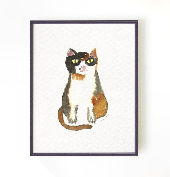 Cat print, watercolor painting, Tortoiseshell cat, Cat illustration, Whimsical prints of cats, For Cat lover, Buy 2 Get 1 FREE
