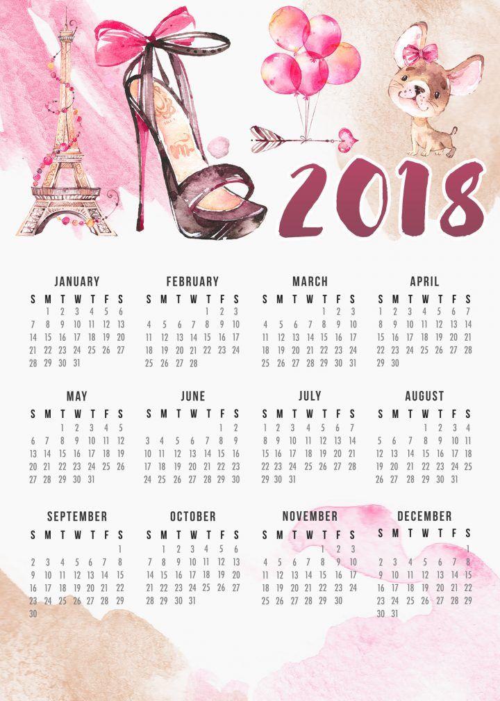 Free Printable 2018 Paris Calendar