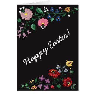 Easter greetig card- folk motifs, Black Greeting Card