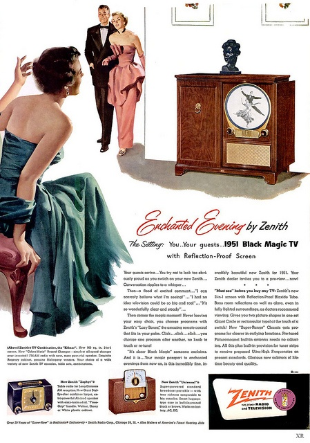 Enjoy an enchanted evening with Zenith! #vintage #TV #1950s #ad