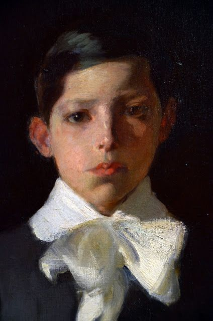 Joaquin Sorolla: title unknown [portrait of a boy in white-bowed shirt]. Oil on canvas.