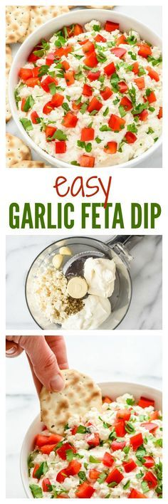 This easy recipe for Garlic Feta Dip is ready to go in 10 minutes and everyone loves it! The red and green make it a fun and festive appetizer recipe for holiday parties too. Made with Greek yogurt and light cream cheese, but you'd never know!