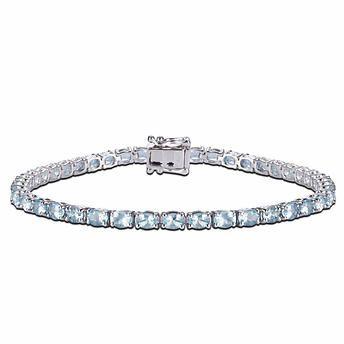 Oval Cut Aquamarine 14kt White Gold Bracelet