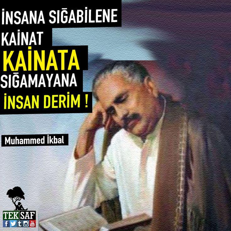 İnsana sığabilene kainat , Kainata sığamayana insan derim. - Muhammed İkbal